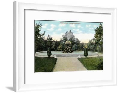 Attleboro, Massachusetts - Capron Park View of the Fountain-Lantern Press-Framed Art Print