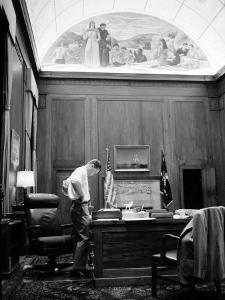 Attorney General Robert F. Kennedy Working Late into the Night in His Office