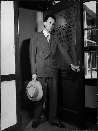 Attorney Richard Nixon in the Doorway of Law Office After Returning From WWII to Resume His Career-George Lacks-Photographic Print