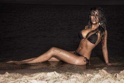 Attractive Brunette Lady Posing on the Beach at Night.-PawelSierakowski-Photographic Print