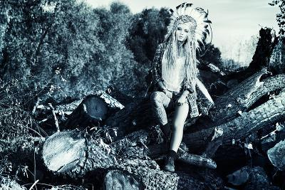 Attractive Modern Girl in Style of the American Indians. Western Style. Jeans Fashion. Tattoo.-prometeus-Photographic Print