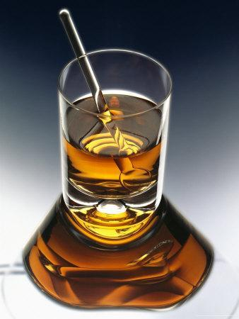 Glass of Liquor with Glass Stick