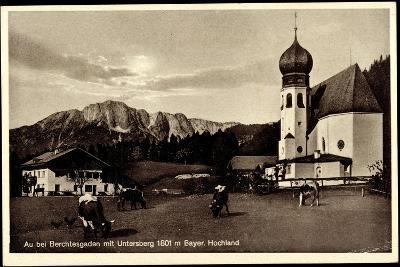 Au Berchtesgaden Bayer. Hochland, Rinder an Der Kirche, Wohnhaus, Felsen--Giclee Print
