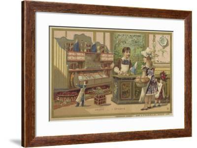 Au Bon Marche Cards Featuring Children's Games--Framed Giclee Print