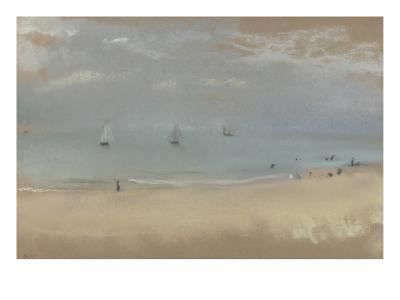Au bord de la mer, sur une plage, trois voiliers au loin-Edgar Degas-Giclee Print