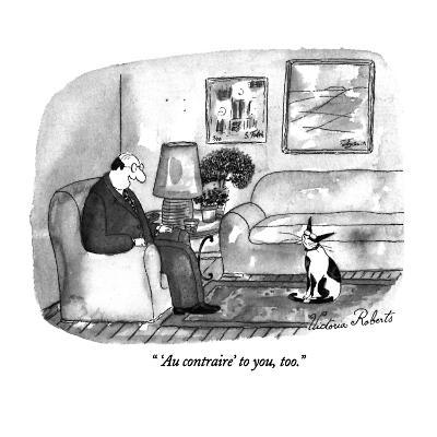 """ 'Au contraire' to you, too."" - New Yorker Cartoon-Victoria Roberts-Premium Giclee Print"