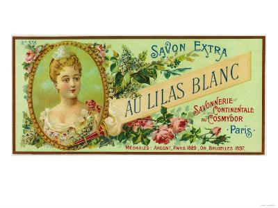 Au Lilas Blanc Soap Label - Paris, France-Lantern Press-Art Print
