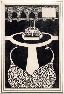 Chapter Heading Depicting Two Peacocks in a Garden with a Fountain, C.1893/4 by Aubrey Beardsley