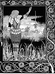 Excalibur Being Reclaimed by the Lady of the Lake, 1893 by Aubrey Beardsley