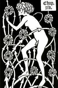 Hermaphrodite Amongst the Roses from Le Morte D'Arthur by Sir Thomas Malory, 1894 by Aubrey Beardsley