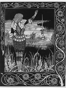 How Sir Bedivere Cast the Sword Excalibur into the Water, an Illustration from 'Le Morte D'Arthur' by Aubrey Beardsley