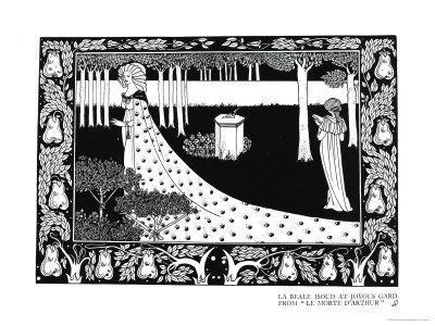 """La Beale Isoud at Joyous Gard, Illustration from """"Le Morte D'Arthur,"""" Published 1894"""