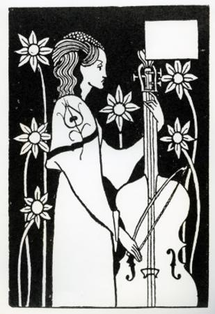 Lady with Cello, from 'Le Morte D'Arthur' by Aubrey Beardsley