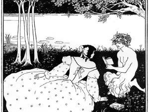 Pan Reading to a Woman by a Brook, 1898 by Aubrey Beardsley