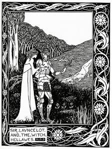 """""""Sir Launcelot and the Witch Hellawes"""" 1870 by Aubrey Beardsley"""
