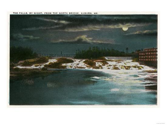 Auburn, Maine - North Bridge View of the Falls at Night-Lantern Press-Art Print