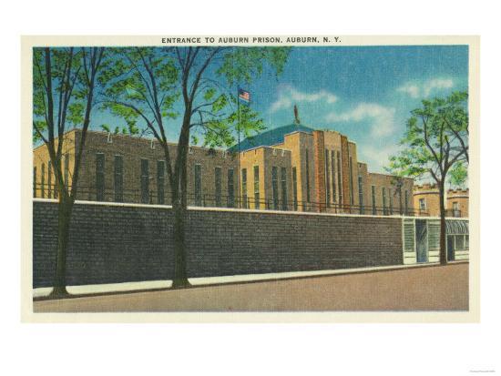 Auburn, New York - Entrance View to the Auburn Prison-Lantern Press-Art Print