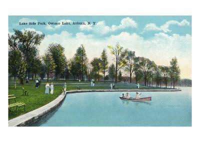 Auburn, New York - Owasco Lake, View of Lakeside Park-Lantern Press-Art Print