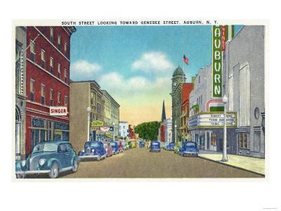 Auburn, New York - South Street View of Genesee Street-Lantern Press-Art Print