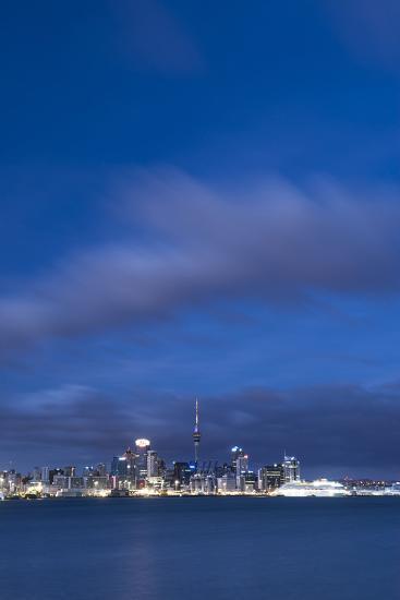 Auckland Skyline at Night Seen from Devenport, Auckland, North Island, New Zealand, Pacific-Matthew Williams-Ellis-Photographic Print