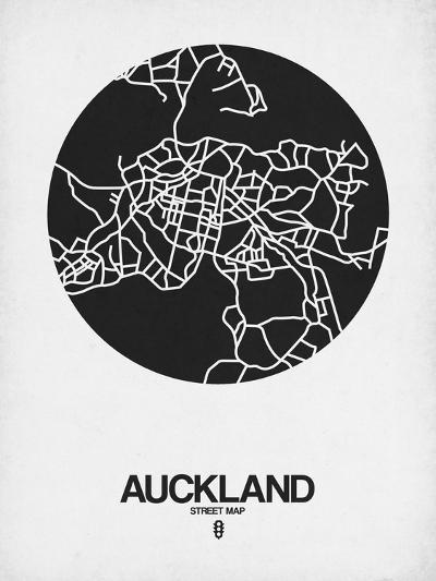 Auckland Street Map Black on White-NaxArt-Art Print