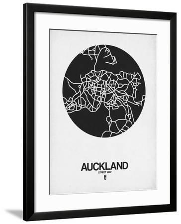 Auckland Street Map Black on White-NaxArt-Framed Art Print