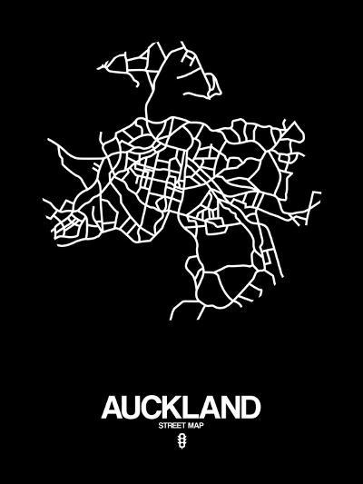 Auckland Street Map Black-NaxArt-Art Print