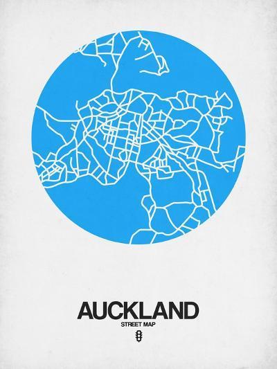 Auckland Street Map Blue-NaxArt-Art Print