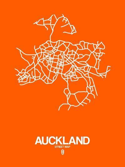 Auckland Street Map Orange-NaxArt-Art Print