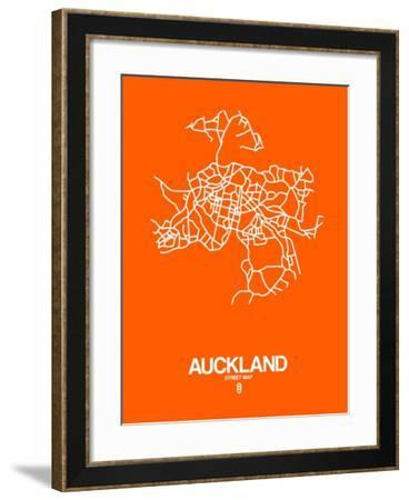 Auckland Street Map Orange-NaxArt-Framed Art Print