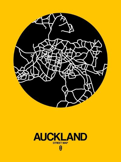 Auckland Street Map Yellow-NaxArt-Art Print