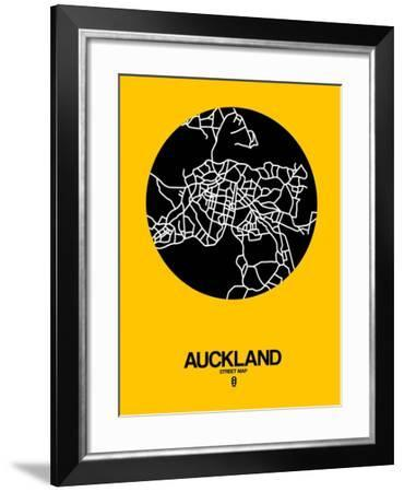 Auckland Street Map Yellow-NaxArt-Framed Art Print