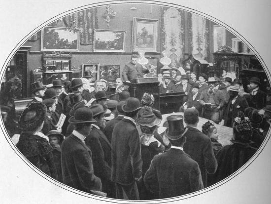 Auction in progress at Phillips auctioneers, London, c1901 (1901)-Unknown-Photographic Print