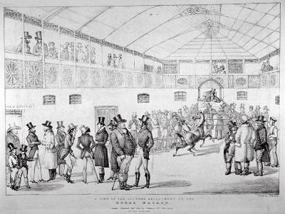 Auction Rooms at Aldridge's Horse Repository, St Martin's Lane, Westminster, London, 1824--Giclee Print