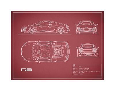 Audi R8 V10-Maroon-Mark Rogan-Giclee Print