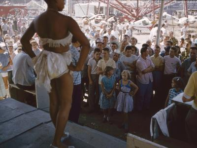 Audience Gathers to Watch a Dancer in a Two-Piece Costume at the Iowa State Fair, 1955-John Dominis-Photographic Print