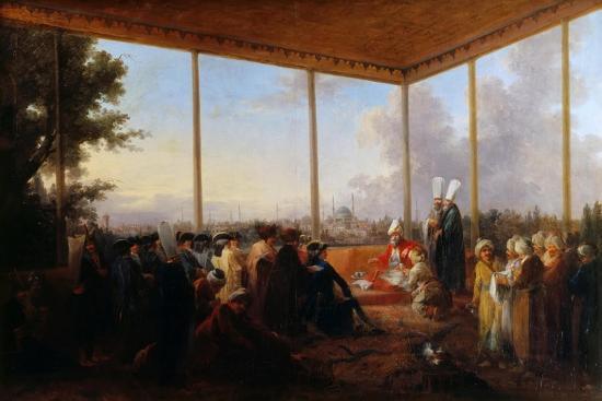 Audience Given in Constantinople by the Grand Vizier Aimali Carac for Francois-Emmanuel Guignard-Francesco Giuseppe Casanova-Giclee Print
