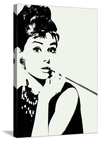 Audrey Hepburn: Cigarillo--Stretched Canvas Print