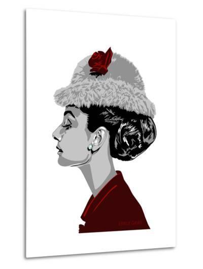 Audrey Hepburn - I Believe in Red-Emily Gray-Metal Print
