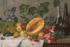 Still Life with Grapes, Pears, Apples and Melon, as Well as a Bottle of Wine by August Jernberg