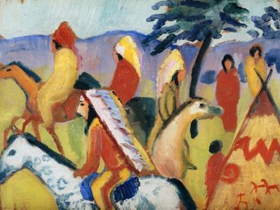 Man with a donkey by August Macke Giclee Fine Art Print Reproduction on Canvas