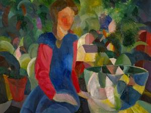 Maedchen mit Fischglas-Girl with fish-bowl. Canvas (1914) 81 x 100.5 cm Inv. G 0017. by AUGUST MACKE