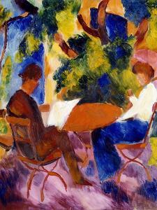 Paar am Gartentisch. Couple at the garden table by August Macke
