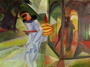 Pierrot, 1913 Canvas. by AUGUST MACKE