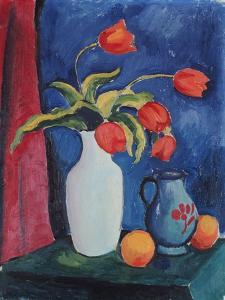Red Tulips in White Vase, 1912 by August Macke