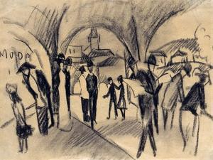 Scene under the Arcades in Thun, 1913 by August Macke