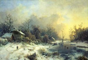 Winter Landscape with Frozen Pond, about 1850 by August Piepenhagen