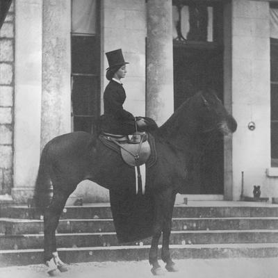 Augusta Crofton Riding Sidesaddle on Her Horse Champion, Ready for the Hunt, 1860--Photographic Print