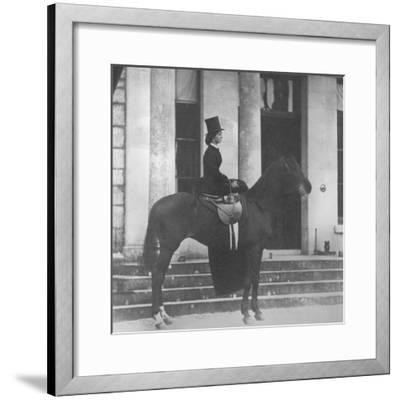 Augusta Crofton Riding Sidesaddle on Her Horse Champion, Ready for the Hunt, 1860