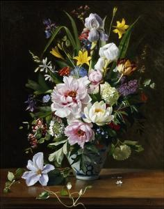 A Still Life with Clematis, Honeysuckle and Peonies by Augusta Dohlmann